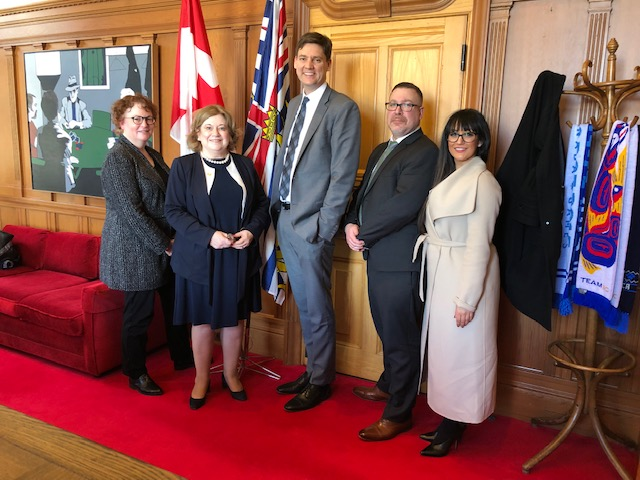 Harriet Permut of The Real Estate Board of Greater Vancouver, Darlene Hyde of BCREA, Hon. David Eby, Trevor Hargreaves of BCREA and Christina Dhesi of the Appraisal Institute of Canada - BC Association.