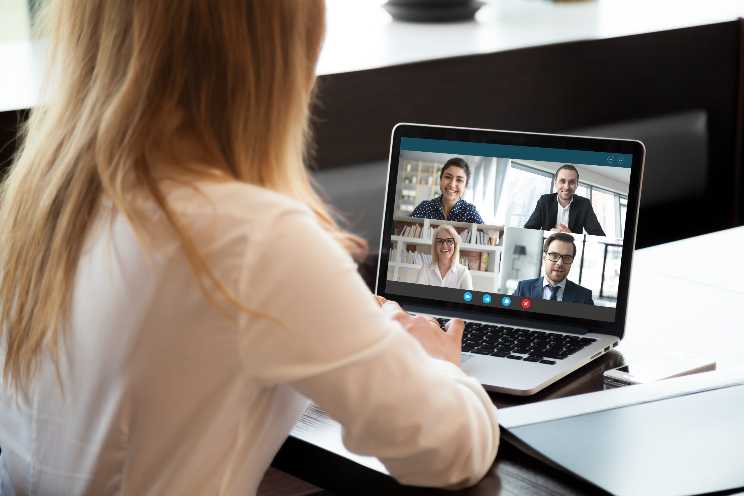 Professionals connect via video conferencing