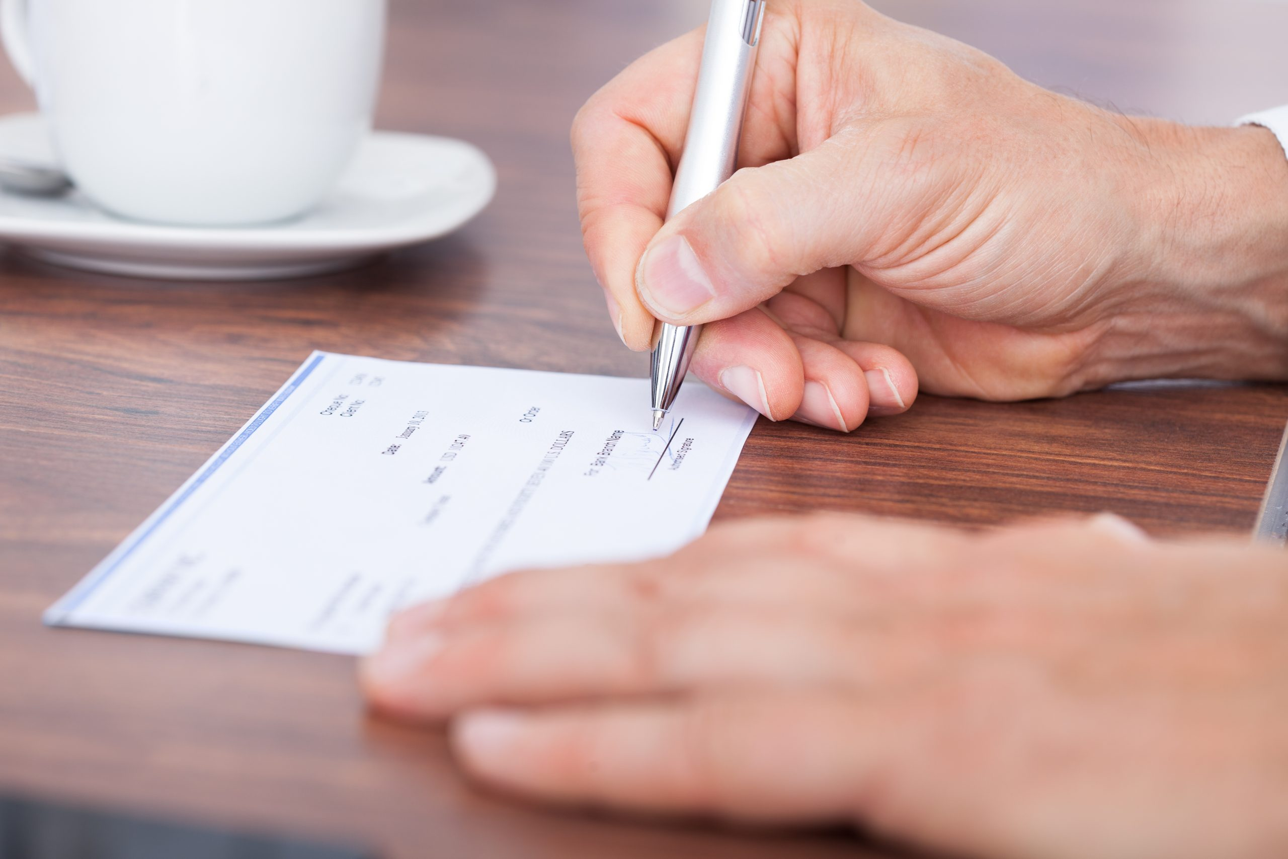 Rent payment being made by cheque